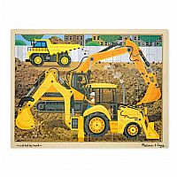 24 Piece Wooden Jigsaw Puzzle, Diggers at Work