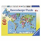 60 Piece Puzzle, World Map