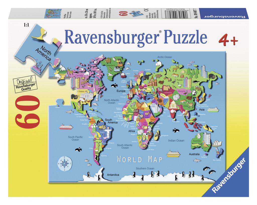 60 Piece Puzzle, World Map - Ravensburger