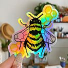 Bee Holographic Vinyl Sticker