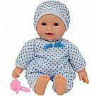 "11"" Doll with Light Skin and Blue Dotted Outfit"