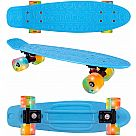 "22"" Plastic Cruiser Skateboard - Blue with LED Wheels"