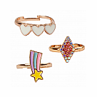 Boutique Heart Star Rings 3-Piece Set