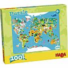 100 Piece Puzzle, World Map (HABA)