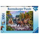 100 Piece Puzzle, Rushing River Horses