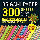 "Origami Paper, Stripes and Solids (300 4"" Sheets)"