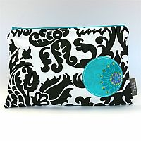 Wet Clutch: Black and White Damask