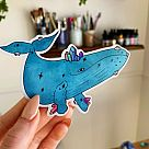 Blue Whale Holographic Vinyl Sticker
