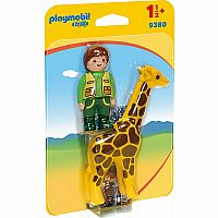Playmobil 123 9380 Zookeeper with Giraffe
